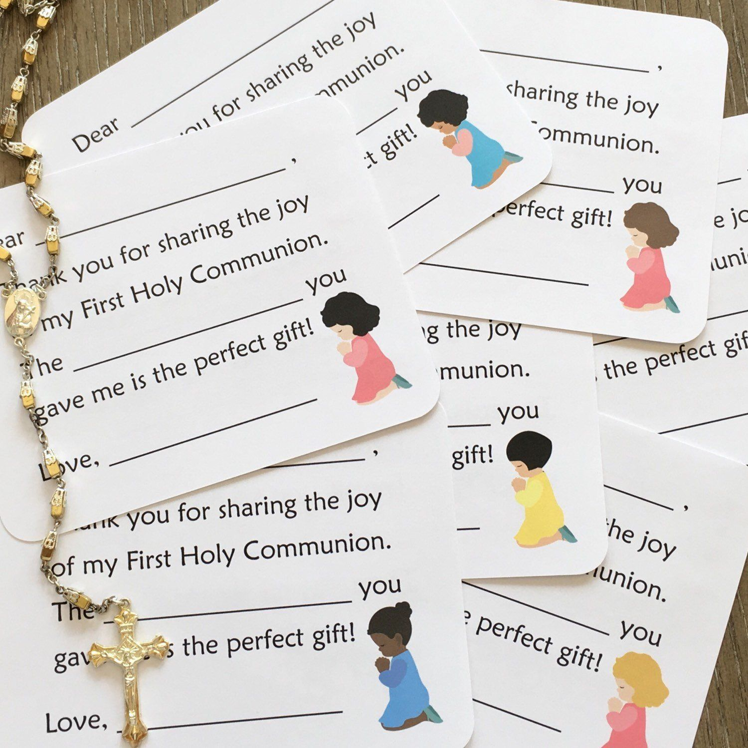 First communion thank you cards girl options fill in