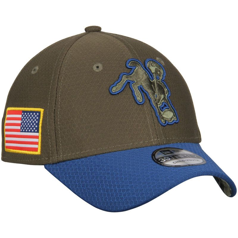 buy online dbb88 4a03a Indianapolis Colts New Era Youth 2017 Salute To Service 39THIRTY Flex Hat –  Olive