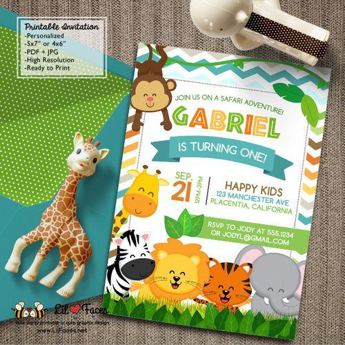 Safari Jungle Birthday Party Printable DIY Invitations Cute Safari