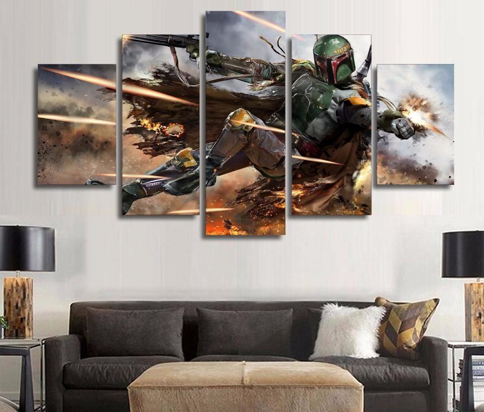 Star Wars Boba Fett 5 Panel Canvas Wall Art Print Living Room Canvas Prints Boba Fett Wall Art Wall Art Canvas Painting