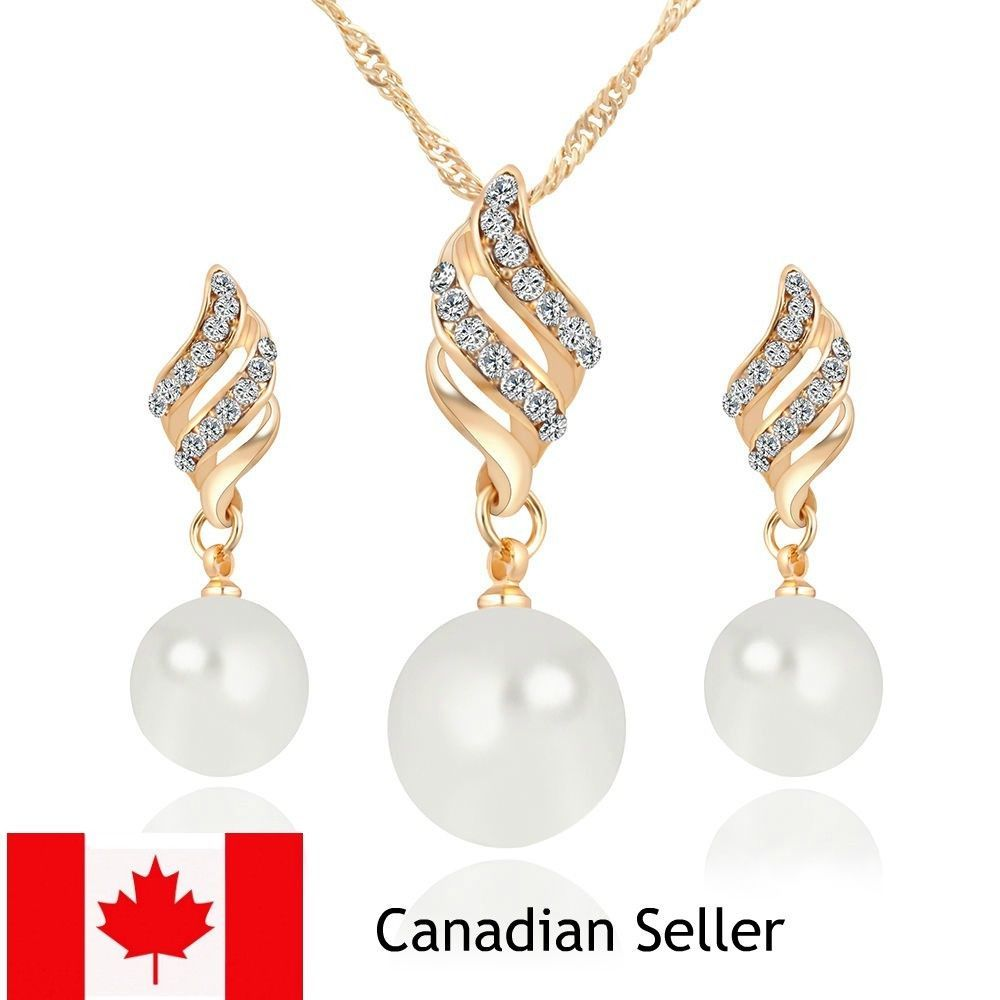 New fashion women ladies pearl necklace and earrings jewelry set