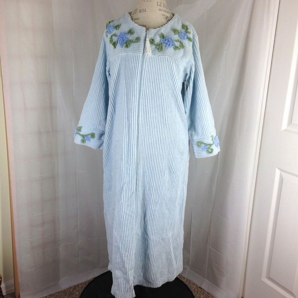 Stan Herman Long Chenille Robe size Large Blue Floral Zip front ...