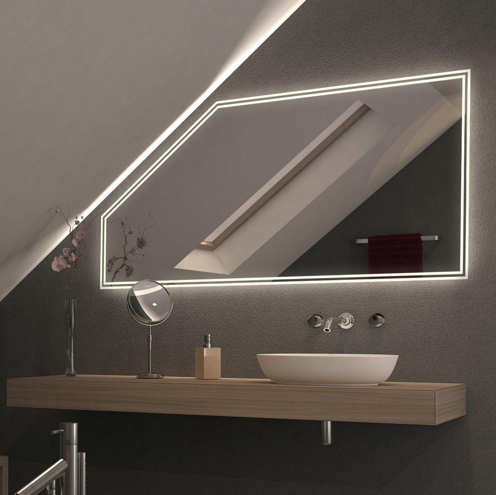 Spiegel Fur Dachschragen Mit Led Beleuchtung Dualo In 2020 Badezimmer Dachschrage Beleuchtung Dachschrage Badezimmer Mit Schrage