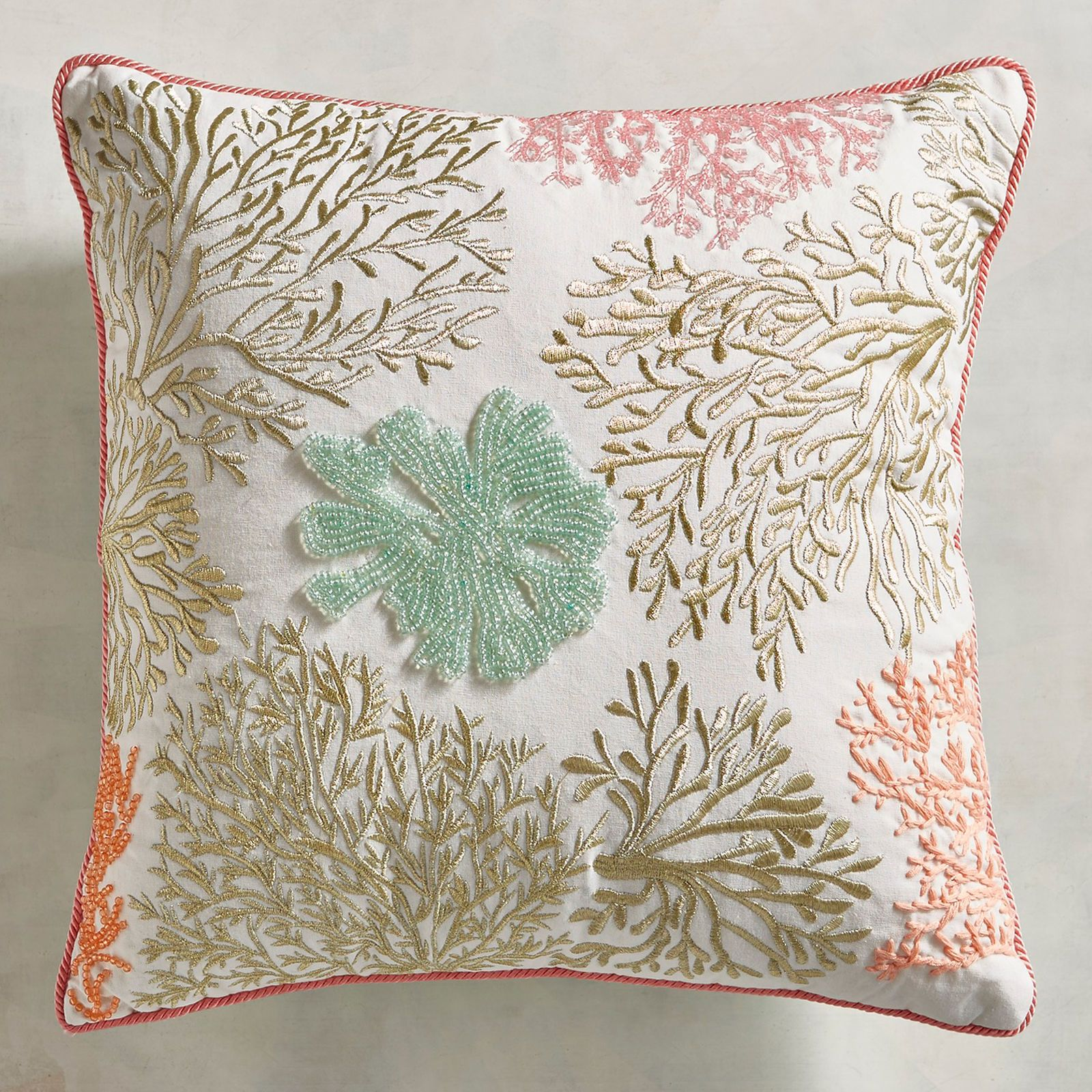 Beaded Embroidered Coral Pillow Pier 1 Imports For Teal Chair Pillow Decorative Bedroom Blue Pillows Decorative Rustic Decorative Pillows