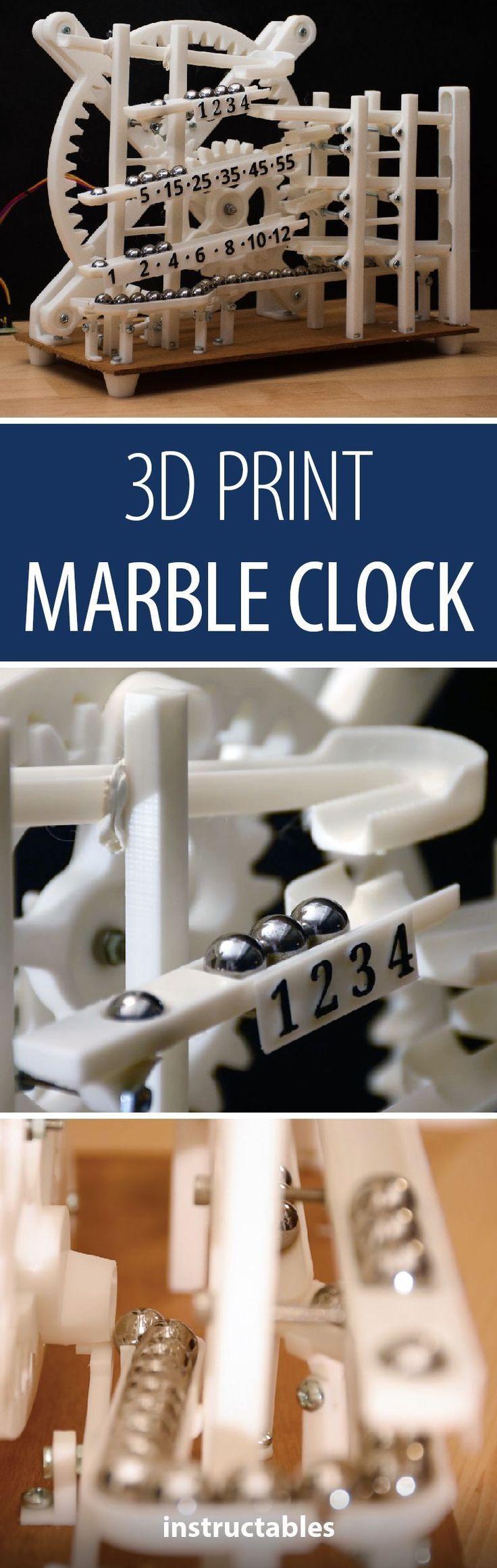Marble Clock Clock Marble Robot Marble Clock 3d Printing 3d Printer Designs