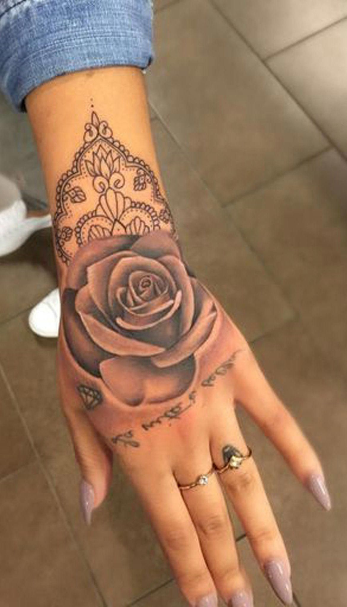Geometric Rose Hand Tattoo Ideas For Women Unique Watercolor Mandala Tat Www Mybodiart Com Tattoos Coolgeometrictat Rose Hand Tattoo Hand Tattoos Tattoos