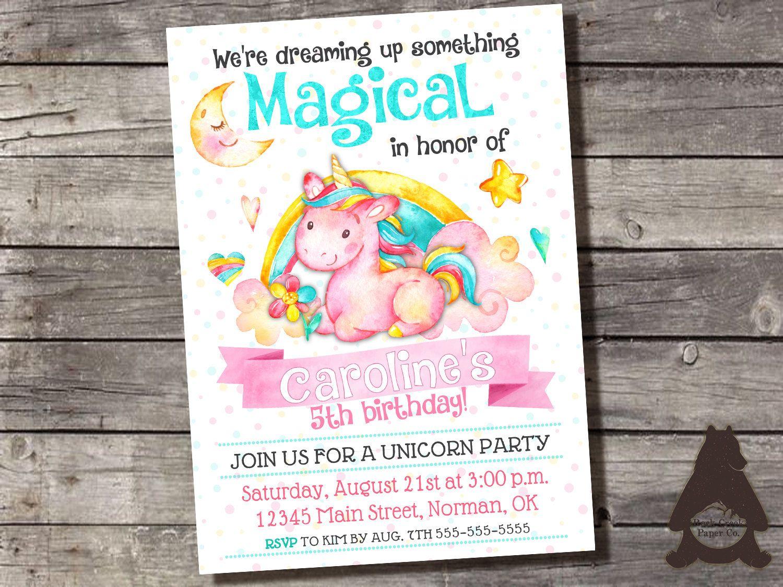 Unicorn Birthday Invitation, Magical Unicorn Party, Rainbow ...