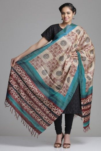 Beige Ghicha Tussar Dupatta With Checkered Maroon & Black Abstract Pattern And A Leaf Pattered Border
