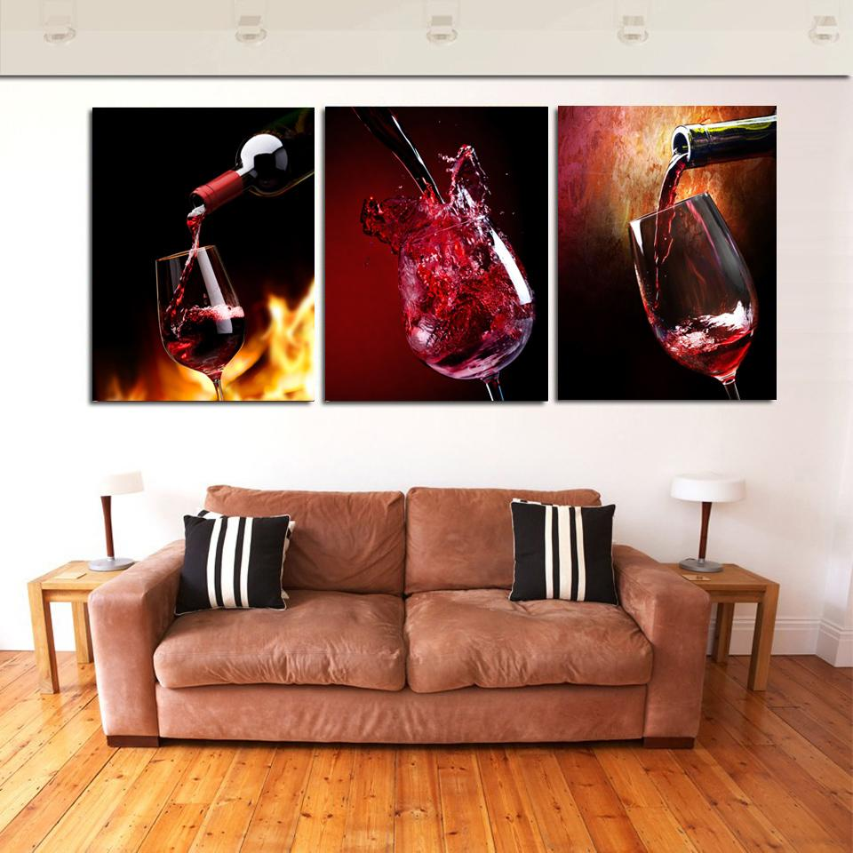 Hd Printed 3 Piece Canvas Vineyard Vines Red Wine Glass Living Room Painting Wall Art Free Shipping Ny 6368 With Images Wine Wall Art Home Decor Wall Painting Living Room #red #paintings #for #living #room