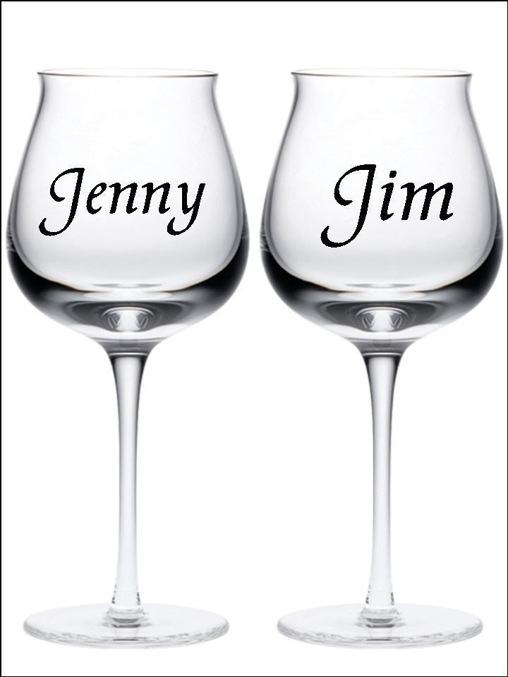 X PERSONALISED NAME Wine Glass Sticker Wedding Art Valentines - Vinyl decals for wine glasses uk