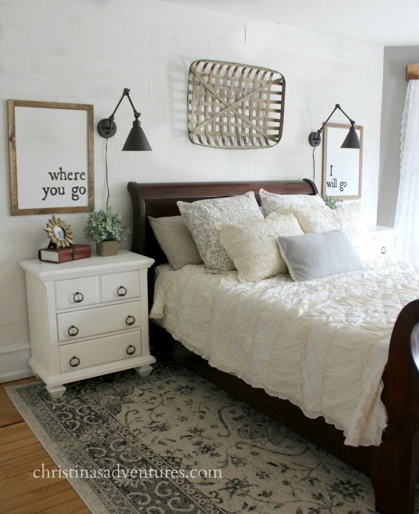 Farmhouse Bedroom Makeover White Planked Wall Dark Sleigh Bed