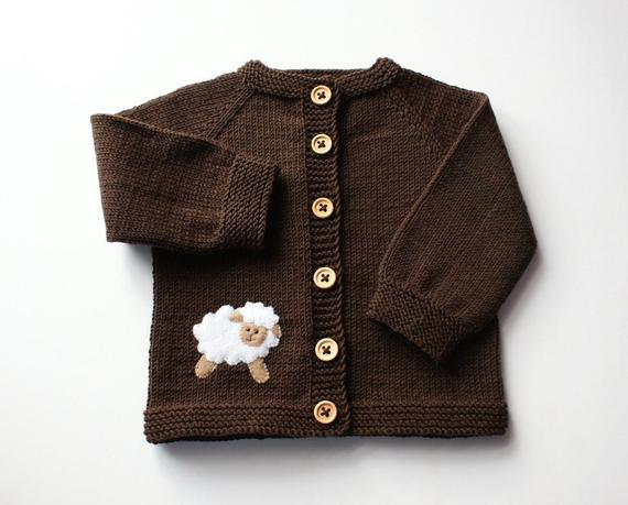 227c657a9 Knit merino jacket brown baby sweater with white sheep MADE TO ORDER ...