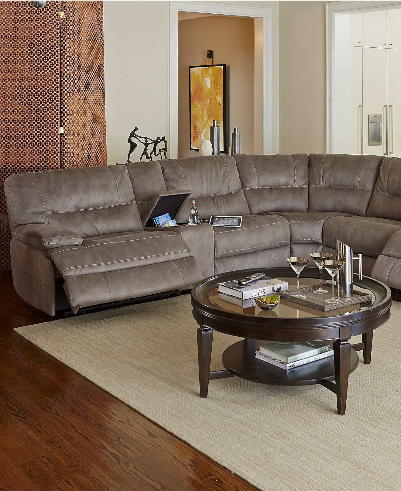Liam Fabric Power Reclining Sectional Sofa Collection Created for