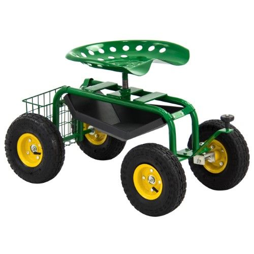Heavy Duty Rolling Garden Cart With Work Seat And Tool Tray Green Garden Cart Garden Seating Garden Tools
