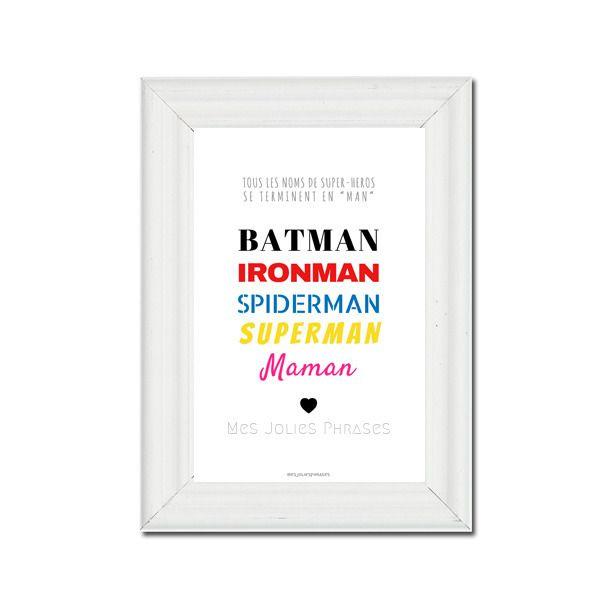 Très Carte décorative citation A6 : Maman et les Super-héros (couleur  TU67