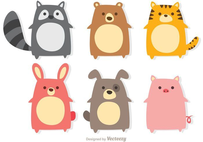 Cute Animals Vectors 110672 Animals Free Download Cute Animal Illustration Cute Little Animals Cute Cartoon Animals