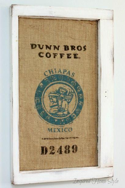 Coffee sack art simple diy wall decor that is prefect for Burlap sack decor