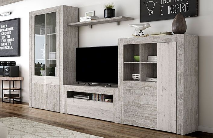 Compra Ya Este Mueble De Salon Modular Efecto Vintage Al Mejor - Fotos-muebles-de-salon