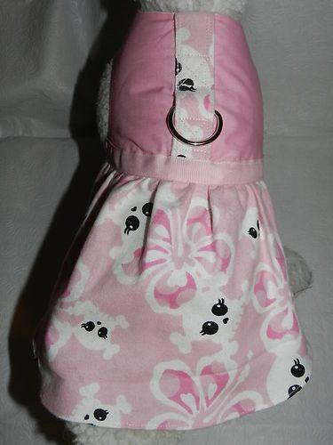 Dog Cat Ferret Couture Harness Dress Hawaiian Tropic Gothic Skull