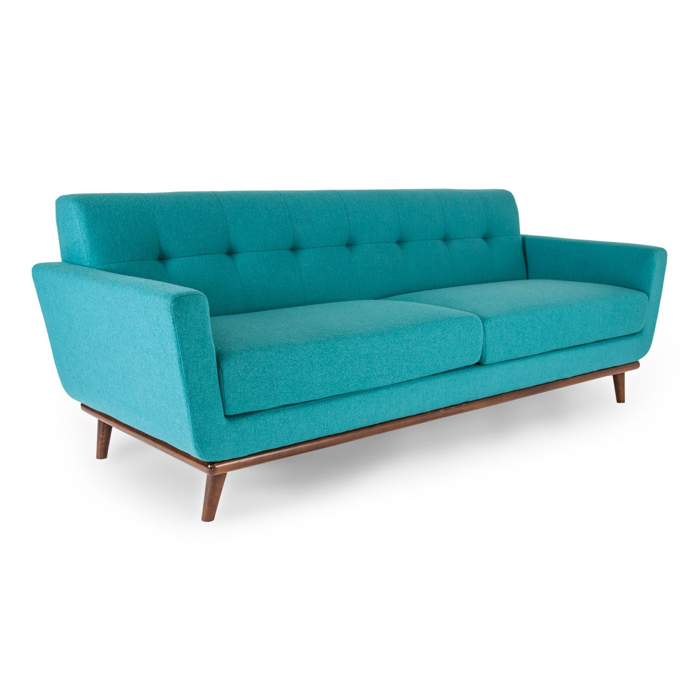 Jackie Mid Century Modern Classic Sofa Turquoise Wool