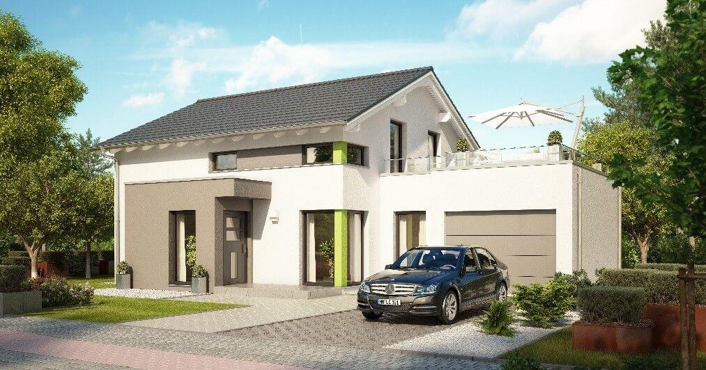 Fertighaus modern satteldach  Einfamilienhaus modern mit Garage - Haus Evolution 143 V6_Bien ...