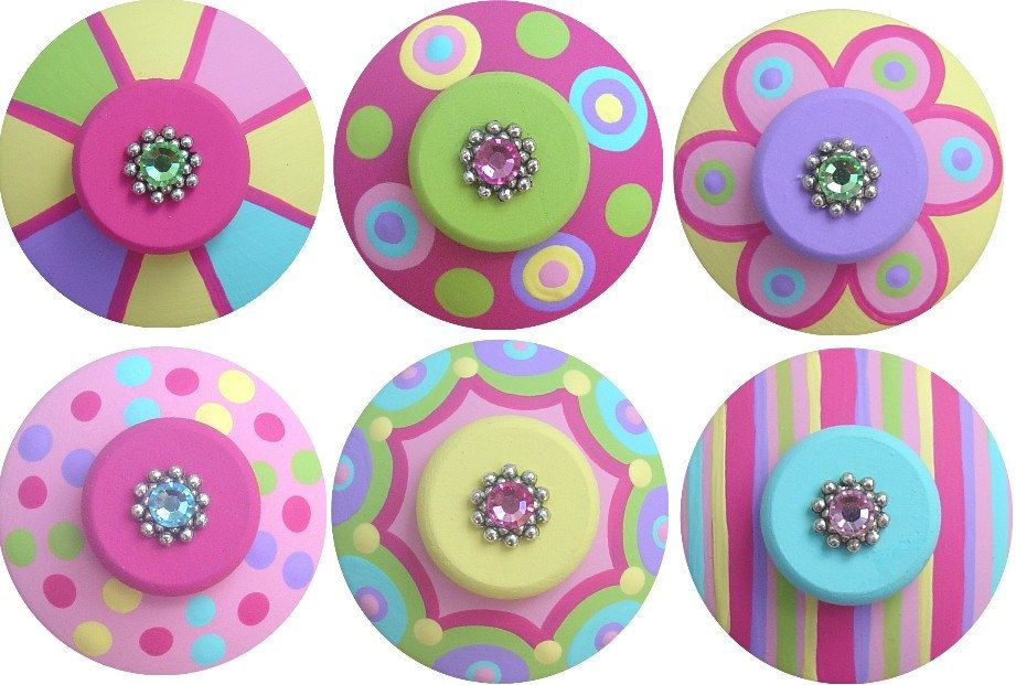 Set of 6 Pink Green Aqua Purple and Yellow by LisaEverettDesigns, $51.00