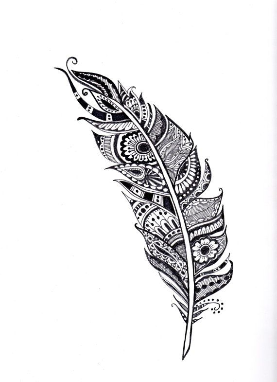 Henna Feather Illustration Feather Art Coloring Page Henna Wall Art Black And White Feather Hand Drawn Feat Feather Illustration Henna Feather Feather Art