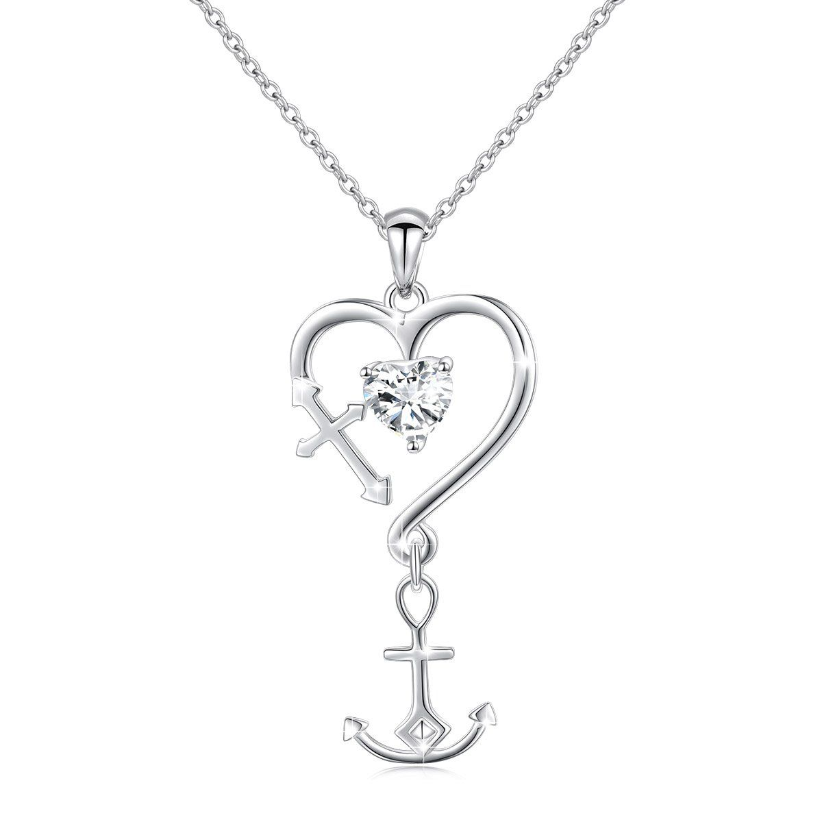 Sterling Silver Plated Cross Pendant Faith Hope Love Gold Heart Necklace