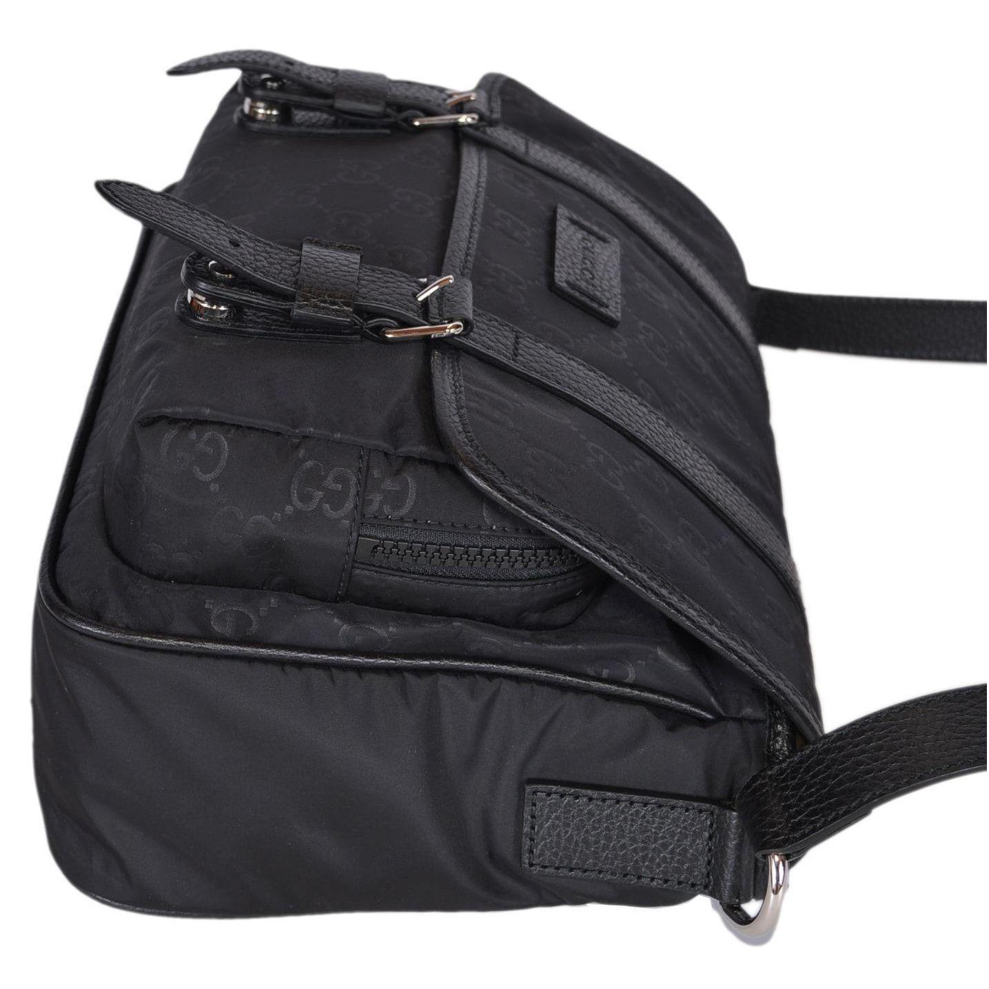 0b9f3ec1c49c Gucci 510335 Black Nylon Leather GG Guccissima Messenger Bag Crossbody Purse  - 11.5