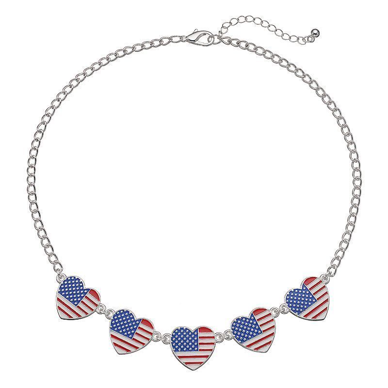 sterling heart necklace wood blue usa american white product red flag silver