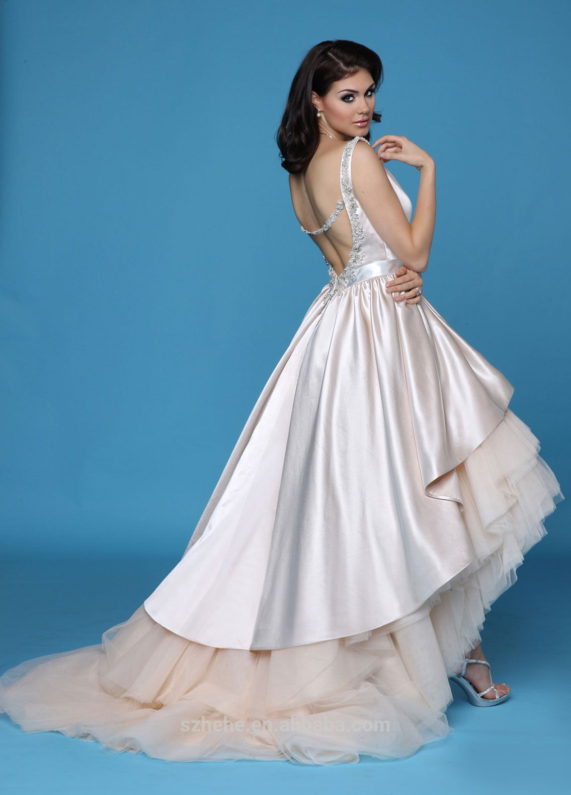 Cream colored vintage wedding dresses  JMBridals CW Vintage square neckline beaded in cream color
