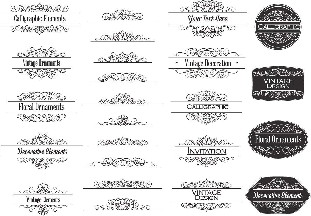 Calligraphic ornaments for invitations vector   Fonts, Vector free ...