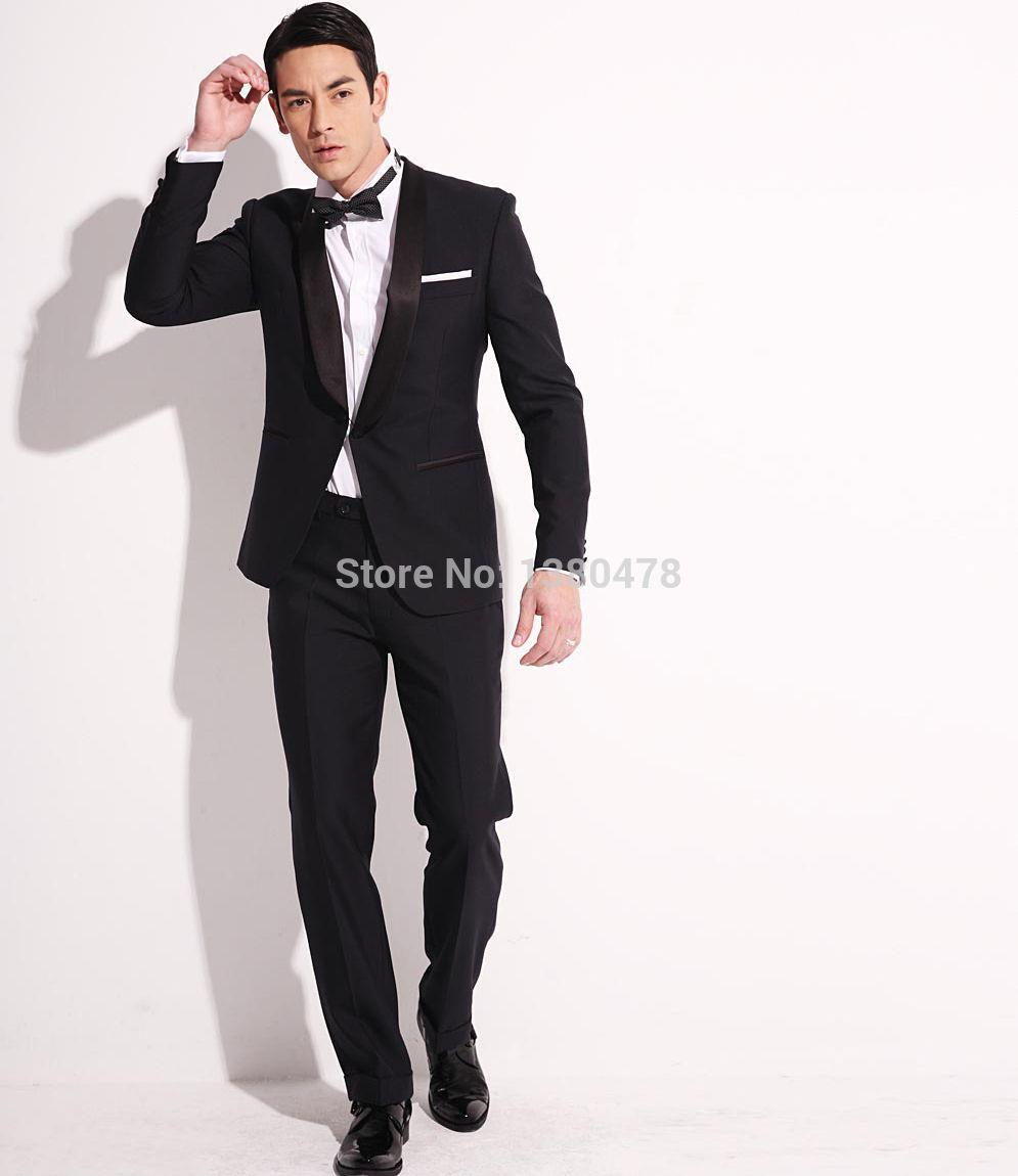 Click to buy ucuc new custom made black groom tuxedos shawl lapel
