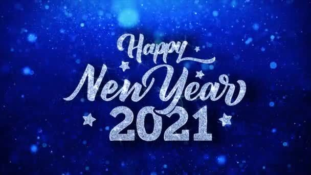 Happy New Year 2021 Blue Text Wishes Particles Greetings