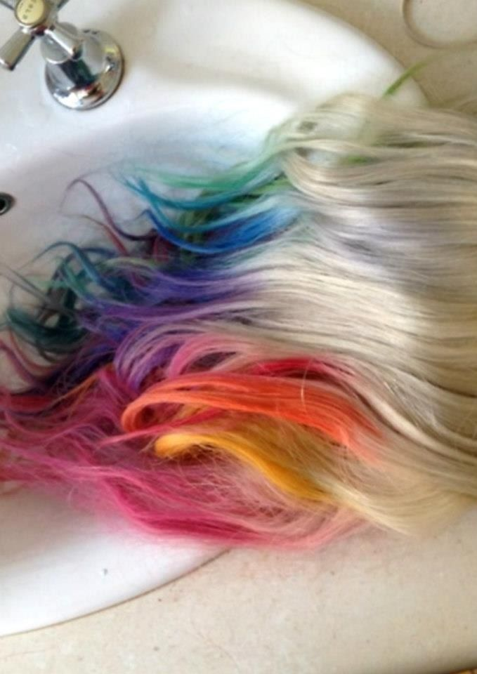 rainbow tips with white blonde