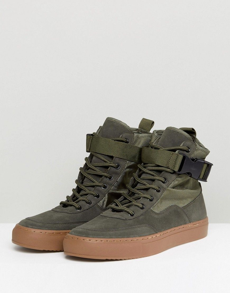 ASOS High Top Sneaker Boots In Khaki With Gum Sole