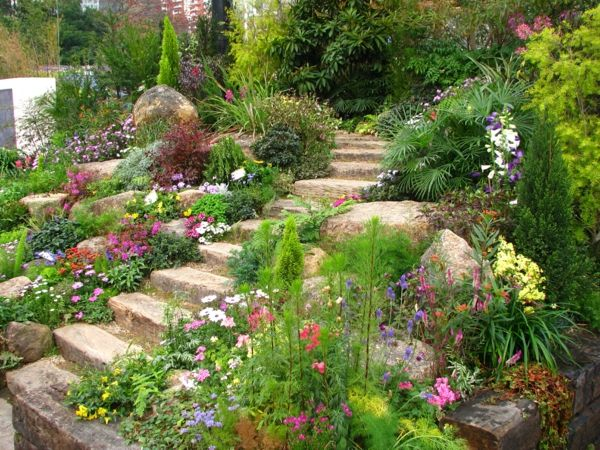 gartengestaltung beispiele treppe steine Garten Pinterest - gartengestaltung mit steinen und blumen