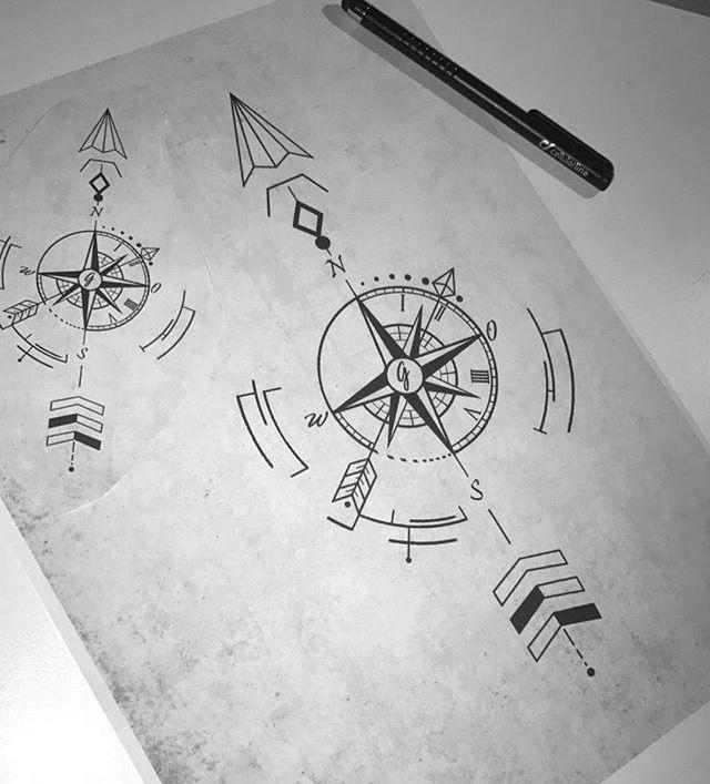ec2bc41b7af84 Geometric compass Arrow Tattoos | about Arrow Compass Tattoo on Pinterest | Compass  Tattoo, Tattoos .