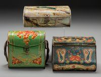 Three Satchel-Form Biscuit Tins, early 20th century 7 inches high (17.8 cm) (tallest)  ... (Total: 3 Items)