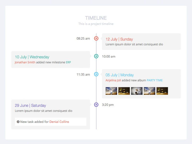 Timeline view from Flat Lab responsive admin dashboard and - timeline template