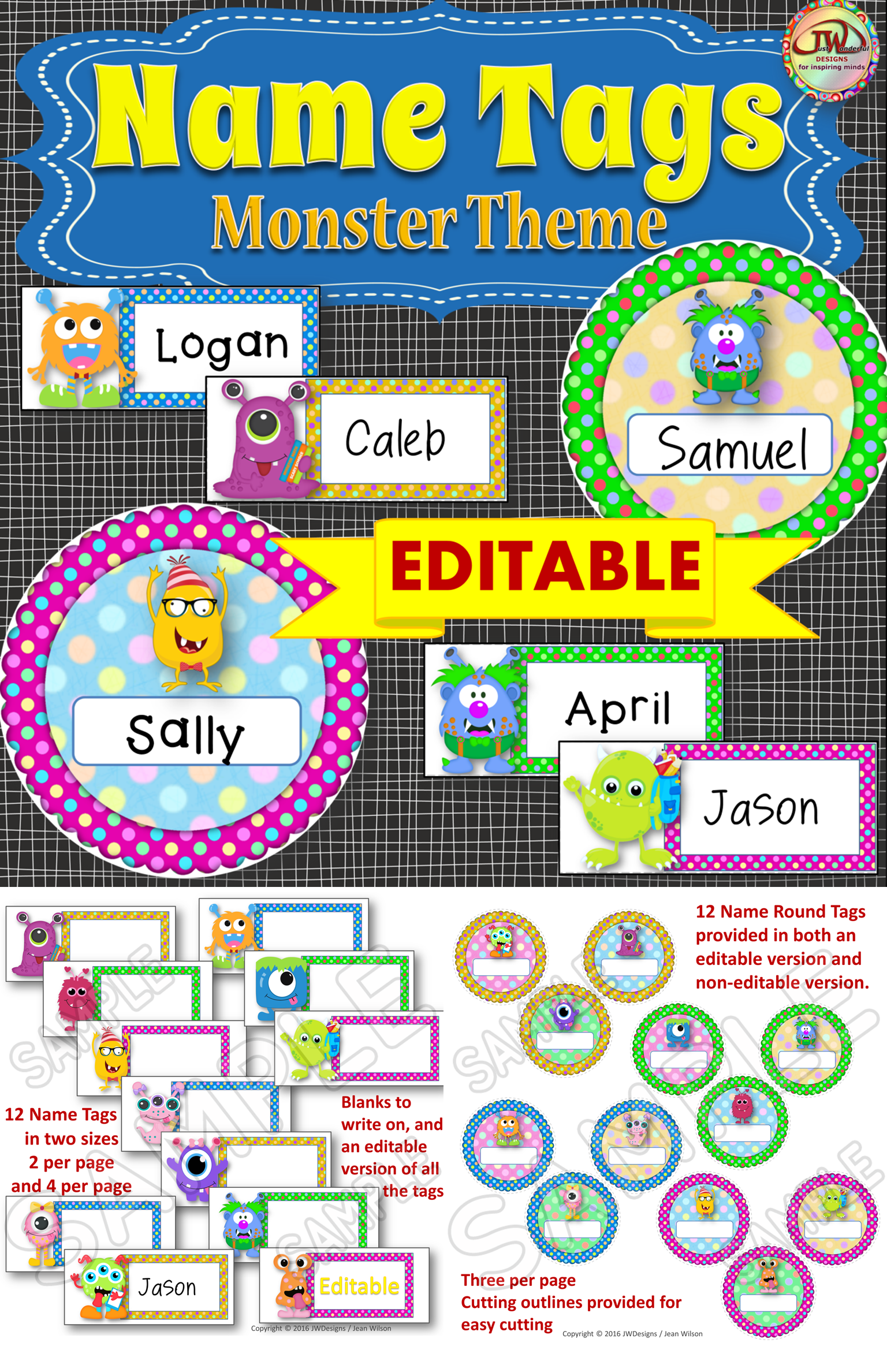 Editable Labels - MONSTER Themed Editable Name Tags