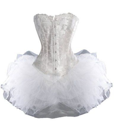 Amazon.com: A3303 - Ivory Corset with Detailed Feather Embroidery and Tutu: Clothing