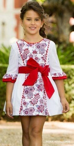 228e761b0 Vestido niña pique blanco manga francesa lazo rojo 1 Atuendos Para Niños,  Vestidos Bebe Niña