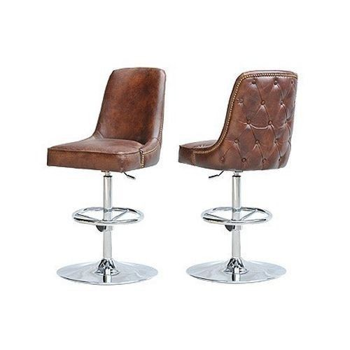 Swivel Modern Leather Bar Stool Seat Vintage Cigar Brown Chrome Superb  Comfort