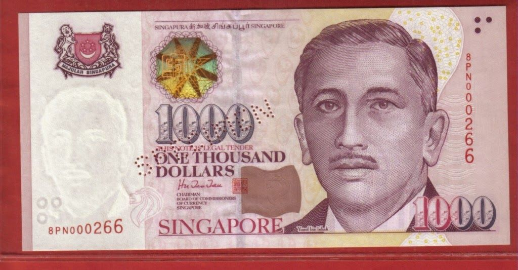 Singapore 1000 Dollars Coins Banknotes Pictures Bank Notes Singapore Dollar Banknotes Money