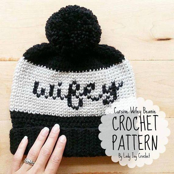 812d4396 Wifey Beanie crochet pattern by Lady Jay Crochet. #tapestrycrochet #fairisle  #crochet #wifey #beanie #diy