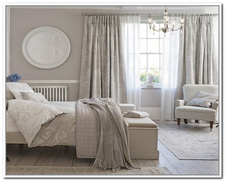 Bedroom Interiors, Bedroom Furniture, Trendy Bedroom, Room Color Schemes,  Room Colors, Shabby Bedroom, Bedroom 2017, Grey Curtains, Luxurious Bedrooms