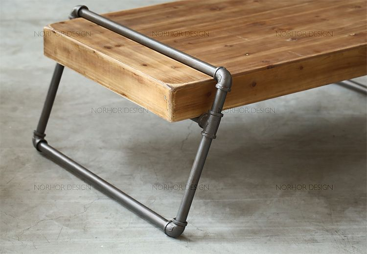 Nordic Expression Retro Mining Wood Furniture Wood Carter Iron Pipe Coffee Table