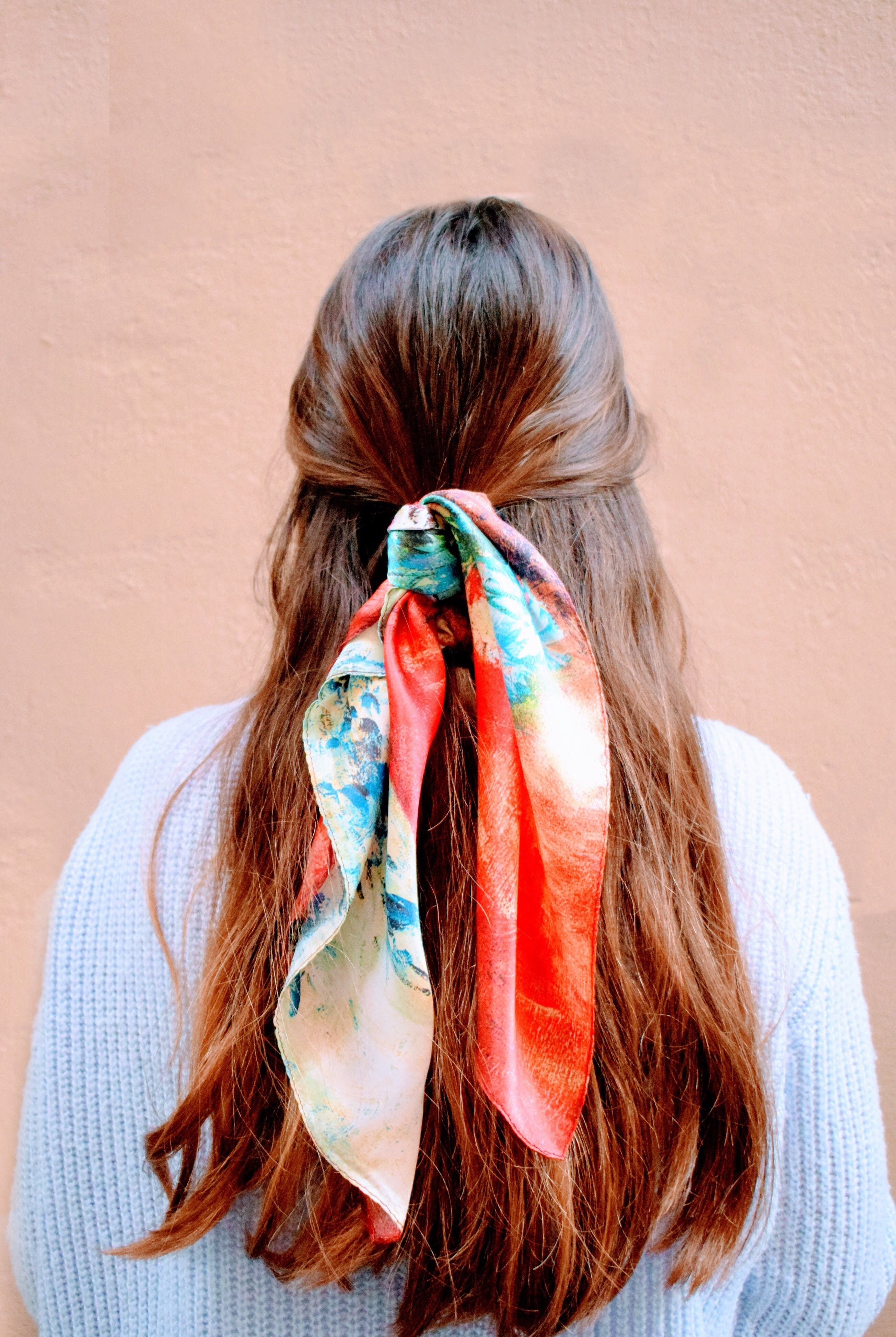 Oil Painting Floral Printed Silk Bandana Scarf
