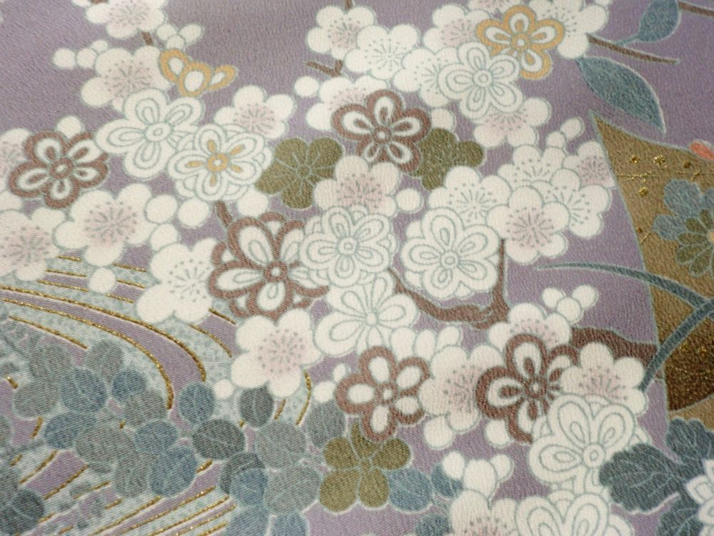 Japanese Kimono Chemical Fiber Grayish Purple Flower Good Condition P060830   eBay